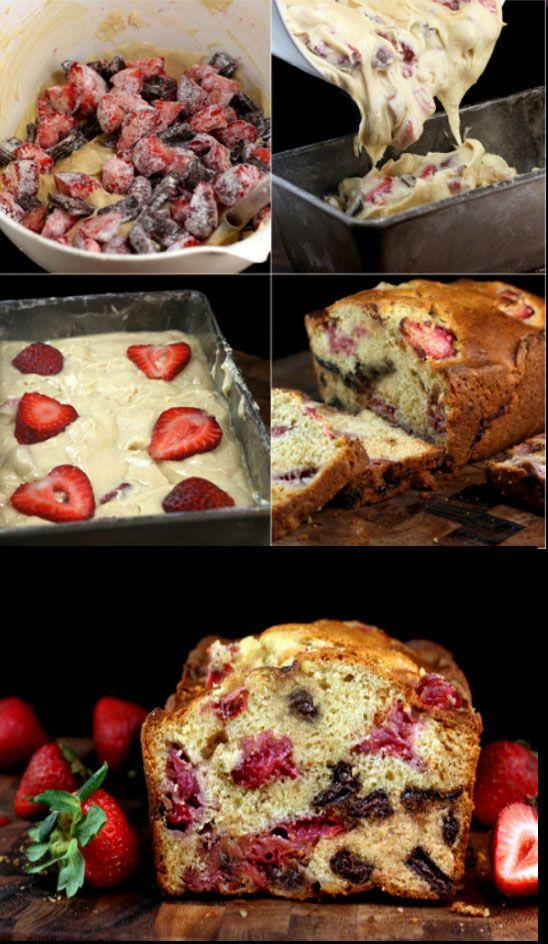 Κεικ με Φραουλες κ Κομματια Σοκολατας. Super Moist and Luscious Strawberry Chocolate Chunk Yogurt Loaf