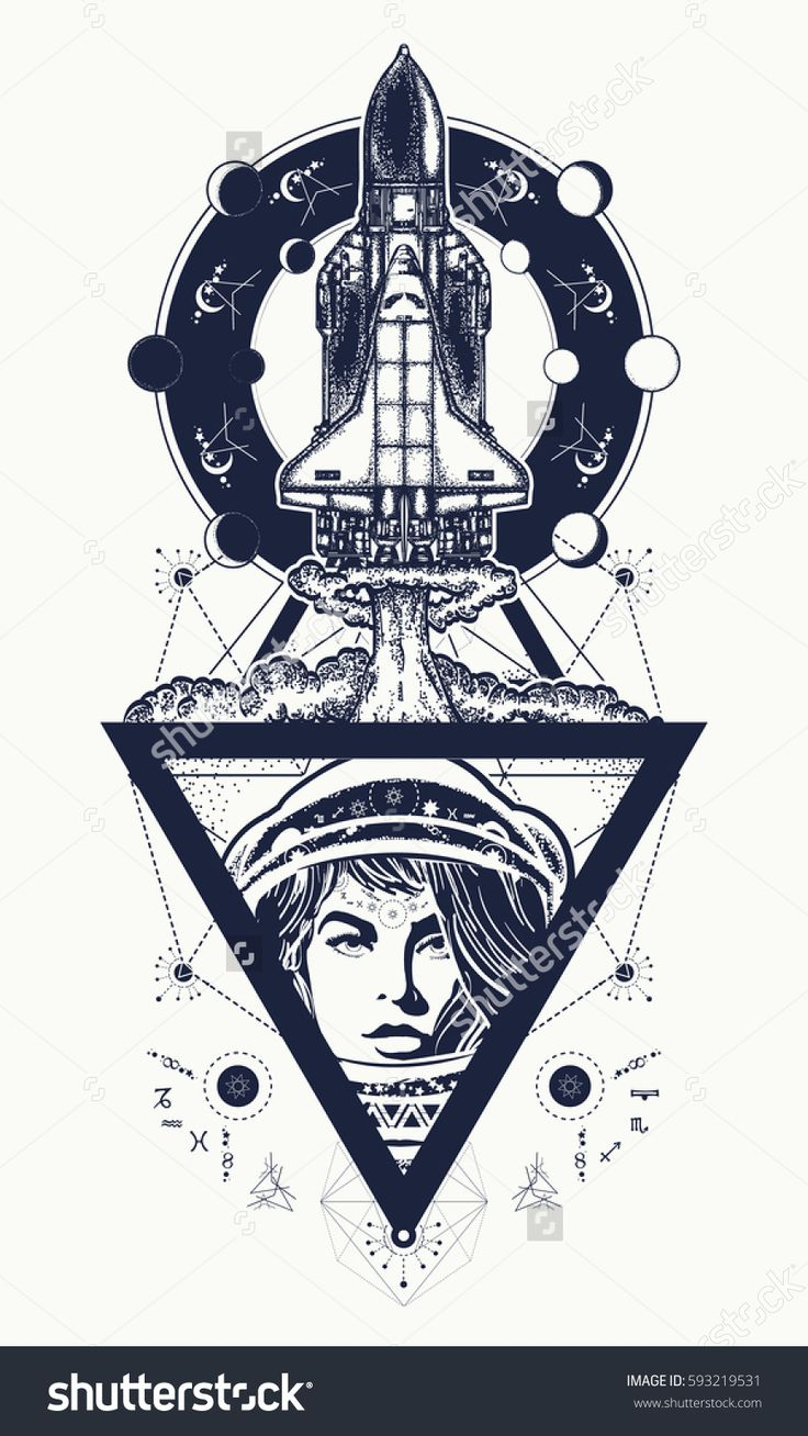 Flying-up spaceship and astronaut tattoo art. Flight to new galaxies, space researches, boundless Universe. Woman astronaut flight to Mars by spaceship t-shirt design
