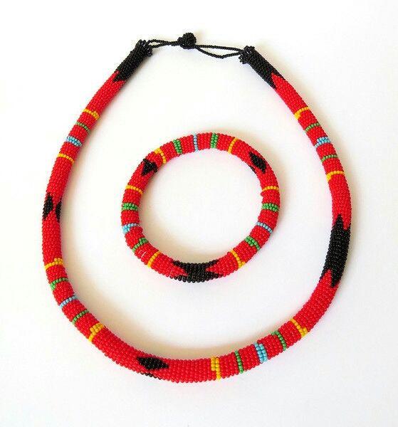 Parure collier et bracelet en perles Sud Africain Zoulou - Rouge