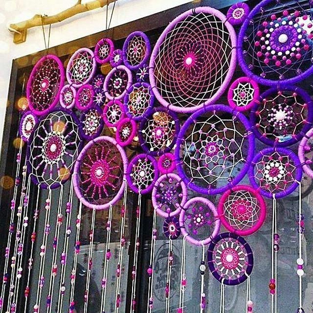 #diy #craft #bohemian #outdoor #dreamcatcher #curtain #pink #lilac #cortina de #atrapasueños