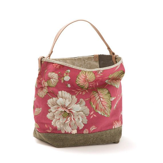 LARGE HANDBAG   Handmade item.  Materials: denim, chenille, leather, snaps.  Color: Red/Crimson Large bucket bag, bag style in fabric, lined. Strap in leather.  It has pocket inside.  It can be used both ways: on the shoulder or on the arm.  100% original design & handmade by