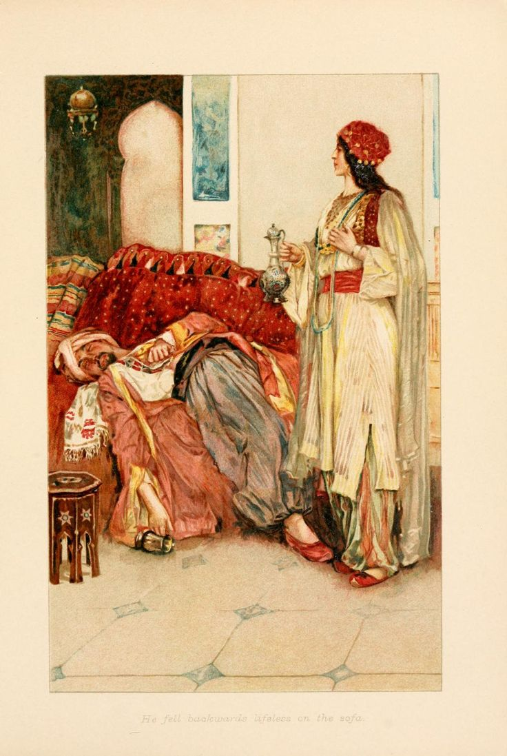 The Arabian nights (1907)  Illustrations by Walter Paget    He fell backwards lifeless on the sofa