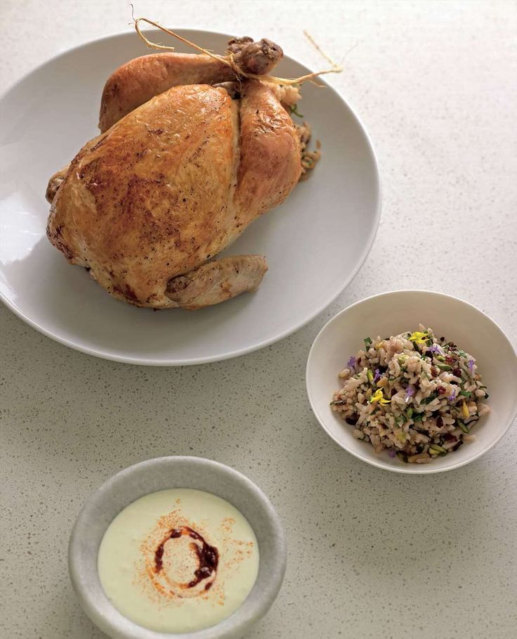 Roast chicken with pine nut and barberry rice stuffing by Greg & Lucy Malouf from Malouf | Cooked