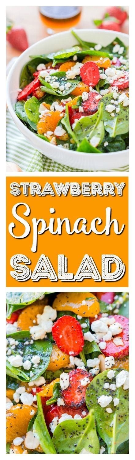 This Strawberry Spinach Salad will become your new go-to recipe for summer, it's made with simple, flavorful ingredients like goat cheese, almonds, poppyseeds, strawberries, mandarins, and spinach, and you can make it family or party-sized! via @sugarandsoulco
