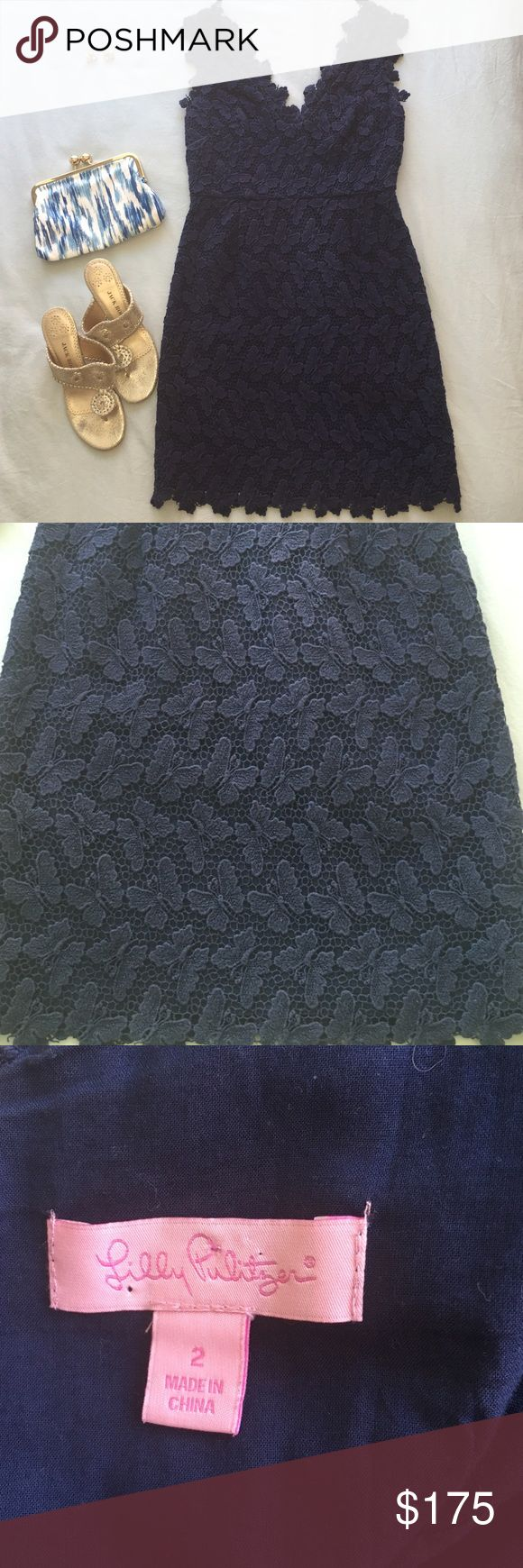 Lilly Pulitzer Papillion lace Reeve dress Gorgeous navy butterfly print dress from Lilly Pulitzer.  Double V front and back with an extremely flattering sheath fit.  Great for a formal event, wedding, or dinner out. Bra keeps in shoulders to keep everything in place.  Previously loved but in very good condition. No trades, no transactions outside posh. Lilly Pulitzer Dresses Mini
