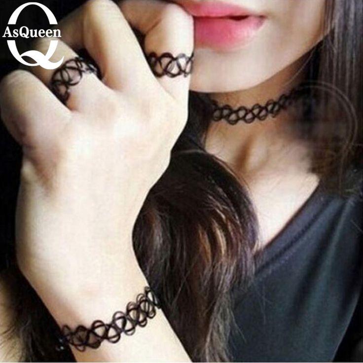 ASQUEEN Q Brand 1set Magic Vintage Tattoo Choker Necklace Bracelet Set Elastic Jewelry Hippy Chick Colares Femininos