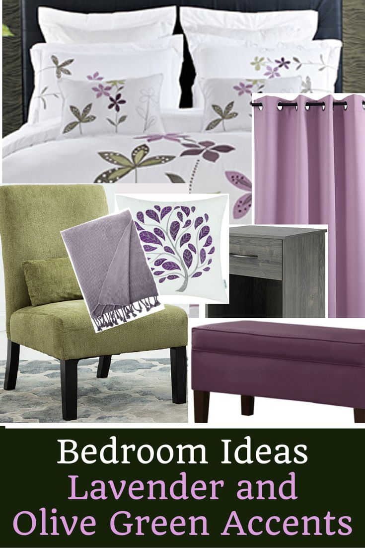 Bedroom Ideas: Lavender and Olive Green Accents. For more home decor ideas and color inspiration, check out www.homedecormuse.com!