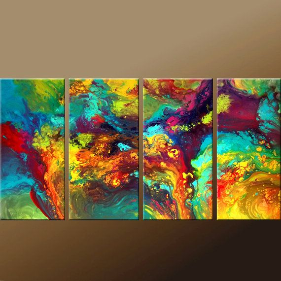 """Abstract Modern Art Painting  72 4pc by wostudios on Etsy  TITLE:: """"Symphony of Light""""  SIZE:: 72""""x36"""" ( you will receive 4-18x36 panels)  MEDIUM:: Acrylics  CANVAS:: 3/4"""" Gallery Wrapped ready to hang Canvas"""