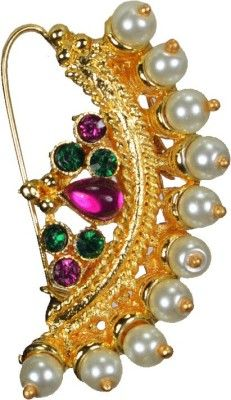 Pearl Paradise Yellow Gold Plated Alloy Nose Ring Price in India - Buy Pearl Paradise Yellow Gold Plated Alloy Nose Ring Online at Best Prices in India | Flipkart.com