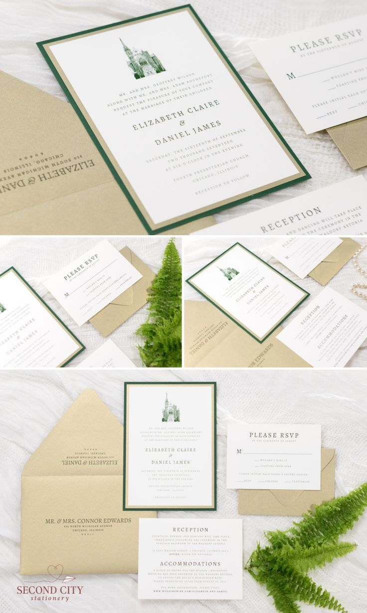 Church Illustration Wedding Invitation in Ivory, Gold Leaf, Forest Green | Fourth Presbyterian Church - Chicago | The Willow Suite