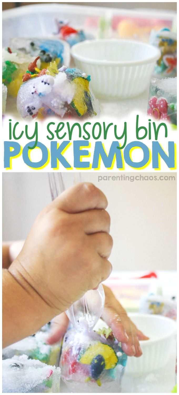 Kids will have a blast freeing their Pokémon friends in this Icy Pokémon Sensory Bin