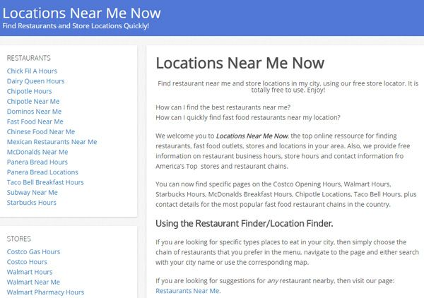 Find restaurants near me, fast food outlets, stores and locations in your area.