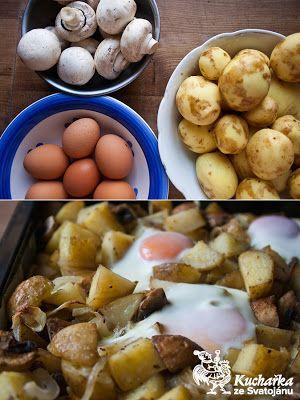 Pečené brambory se žampiony a vejci