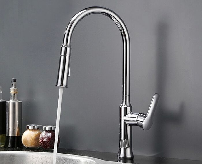 Free shipping Factory direct sale! Kitchen Faucet With Hot & Cold Switch pull out two Function shower mixer tap luxury tap KF088