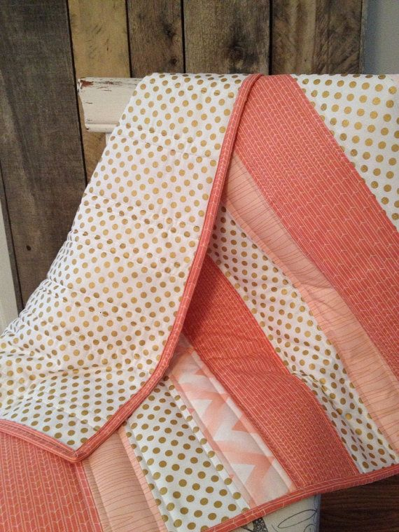 Coral Baubles Baby Quilt - Coral, Gold, Metallic | Metallic, Gold ... : coral quilts - Adamdwight.com