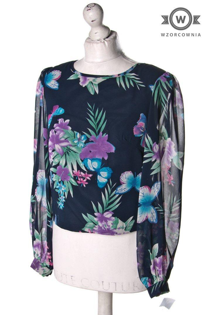 >> Krótka #bluzka w #kwiaty z suwakiem z tyłu #Wzorcownia #online | #AngelEye