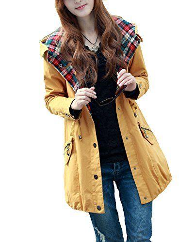 BININBOX® Damen Parka Jacke kurzer Mantel mit Kapuze Trenchcoat Outwear Seitentaschen Kariert mit elastischem Bund (38, Gelb) BININBOX http://www.amazon.de/dp/B00MXUGJZ0/ref=cm_sw_r_pi_dp_Al9jvb0ZXEBA8