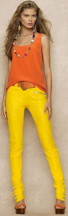 yellow trousers @roressclothes closet ideas women fashion outfit clothing style apparel Ralph Lauren Blue Label