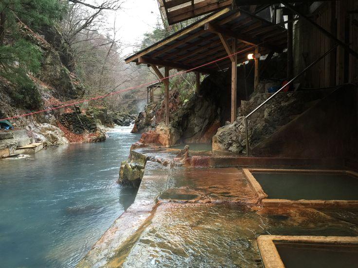 Shiobara Onsen, Tochigi, Japan 塩原温泉郷 塩の湯温泉 明賀屋本館 露天風呂