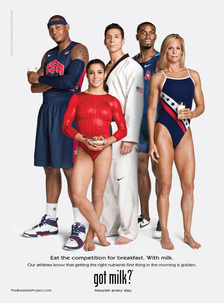 From left: NBA player Carmelo Anthony, world champion gymnast Aly Raisman, world taekwondo champion Steven Lopez and professional swimmer Dara Torres – Got Milk? (Summer Olympics, 2012)