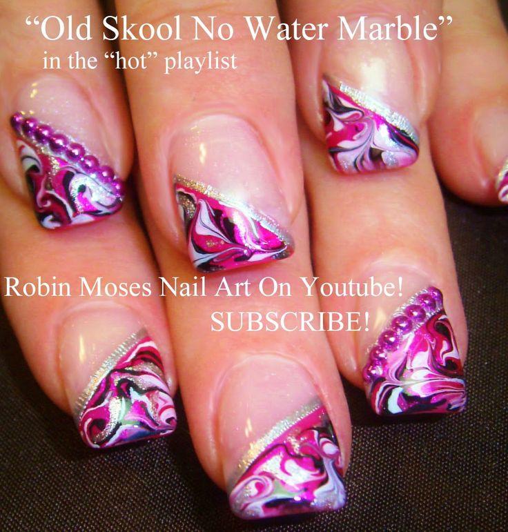 """diagonal no water marble"" ""nail art"" ""no water marble nails"" ""water marble nails"" ""no water marble technique"" ""how to marble nails"" ""how to swirl nails"" ""swirl nails"" ""nail art swirl"" ""prom nails"" robin moses nail art design tutorial"