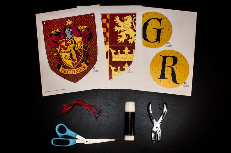 Printable Harry Potter house banners: Gryffindor, Ravenclaw, Slytherin and Hufflepuff