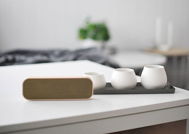 aGROOVE from KREAFUNK is a speaker with round edges, beautiful sound, and bold personality combined in one. aGROOVE in white is a compact and wireless, Bluetooth-speaker with a built-in battery that will make you dance all day long to cool tunes. Photo credit: @erjinterior