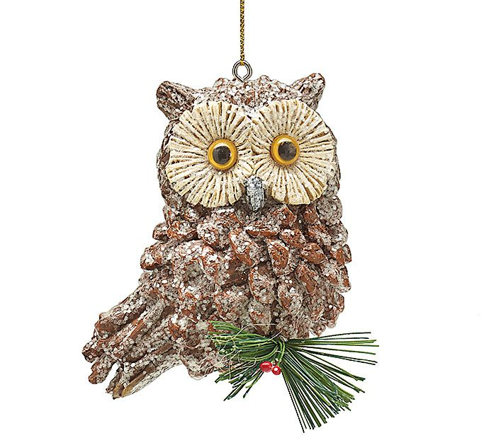 "#burtonandburton Hand painted pinecone owl shape ornament with glitter accents.1 set of 6.4""H X 3 1/2""W X 2 1/2""D."