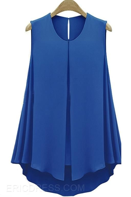 Ericdress Solid Color Sleeveless Blouse Blouses
