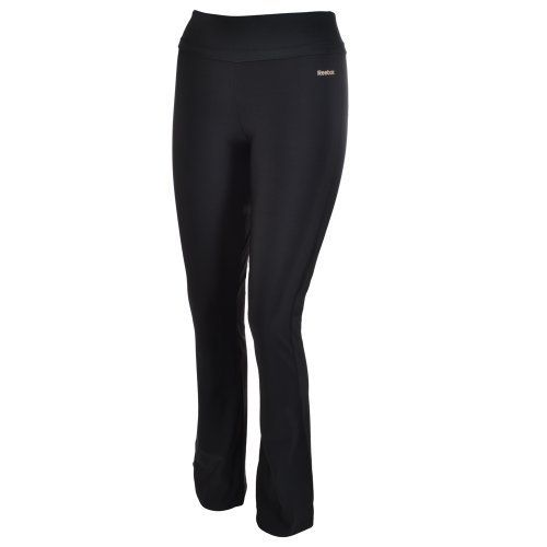 Reebok Easytone Ladies Black Gym Fitness Flare Pants - by Reebok. $44.99. EasyTone apparel creates resistance when you move, strengthening key leg muscles during exercise. Reebok logo on front left with easytone logo on back. Elasticated waist for a secure, comfortable fit. Hugs the figure on the hips and thighs, but flares out below the knee, improving freedom of movement. 76% Nylon 24% Elastane. The Reebok Easytone fitness pants hug the figure on the hips and thighs, bu...