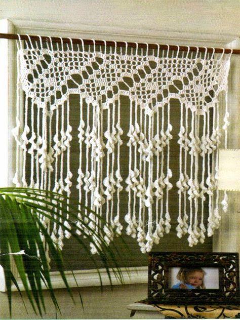 hermosa cortina tejida al crochet muy original