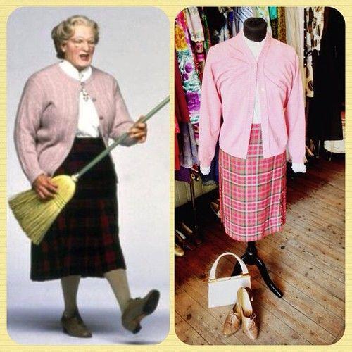 "Just became a woman and i'm already going through hot flashes!"" The man himself.  Ladies cardigan - size small - £14 & Tartan skirt - size medium - £15 60's Jane Shilton patent handbag - £24  #vintage #retro #costume #ideas #dressup #fancydress #halloween #hen #stag #party #celebration #film #icon #Robinwilliams #MrsDoubtfire #90skid #90smovie #comedy #classic #outfit #style #inspiration #scottish #scotland #vintageguruscotland #byresroad #glasgow #westend #granny #grandma"