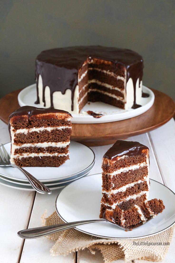 Irish Whiskey and Stout Chocolate Cake (Stout Cake with Whiskey Glaze, Whiskey Cream Cheese Frosting)