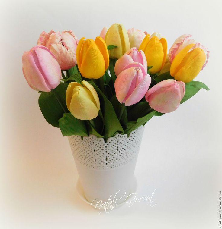 Купить Тюльпаны из фоамирана - комбинированный, розовые тюльпаны, желтые тюльпаны, белые тюльпаны, красные тюльпаны