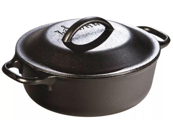 Lodge Cast Iron SERVING POT 2 Quart Dutch Oven Kitchen Cookware Vintage Style   | eBay