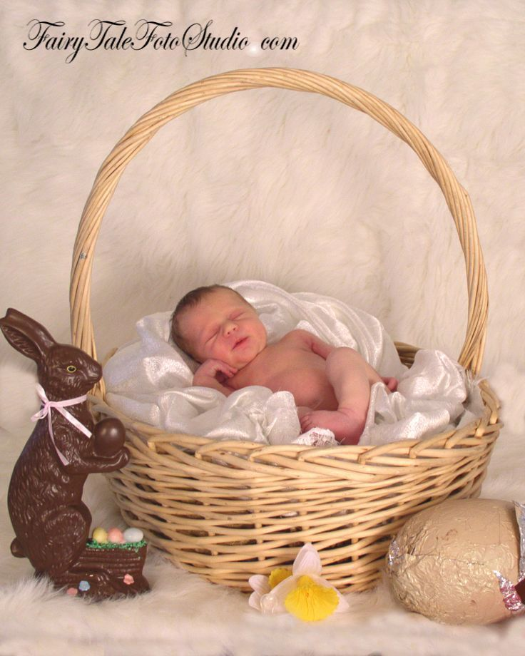 Newborn in a giant easter basket with candy portrait poses photo idea photography