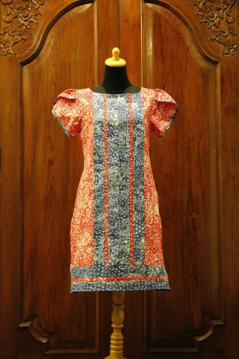 Orange Combinatin Batik Dress by Nona Rara Batik