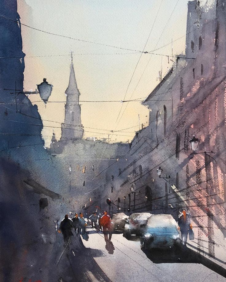Cluj watercolor painting