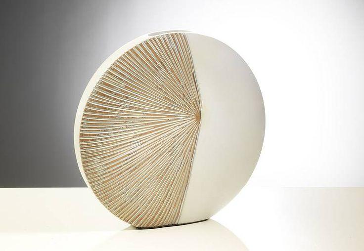 Moderne Vase sunrise, rund 35 cm Durchmesser in creme braun