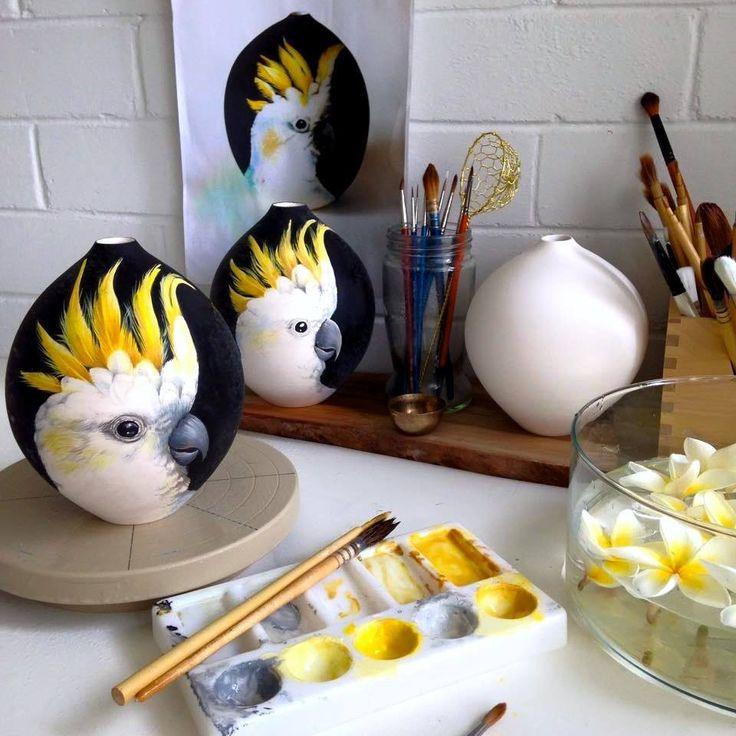 Голубые небеса и золотые рыбки - керамика Нихарика Хукку