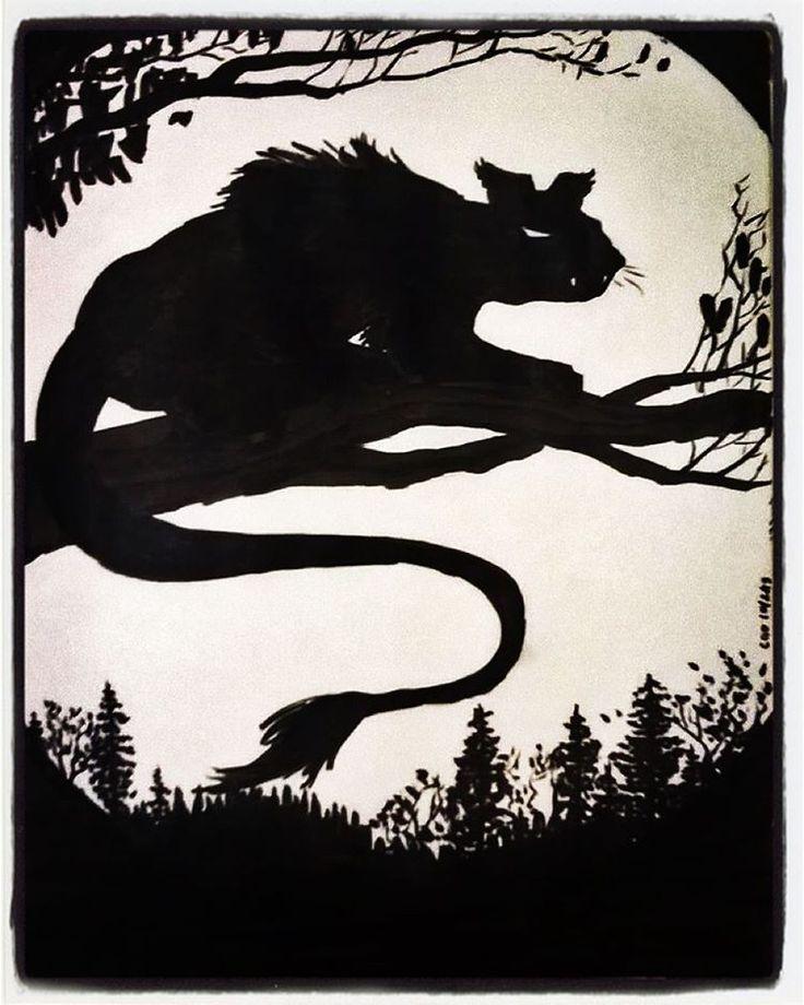 Writer, artist, and Norse scholar Carl Olsen's interpretation of a demon cat. I'd be scared! #midnightthief #fanart