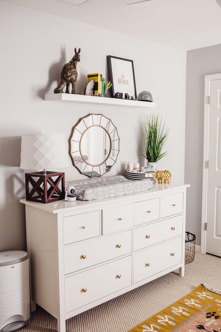 Ikea Dresser modern Nursery Decor styling modern southwestern dresser baby room shelf styling Atlanta photographer interior design