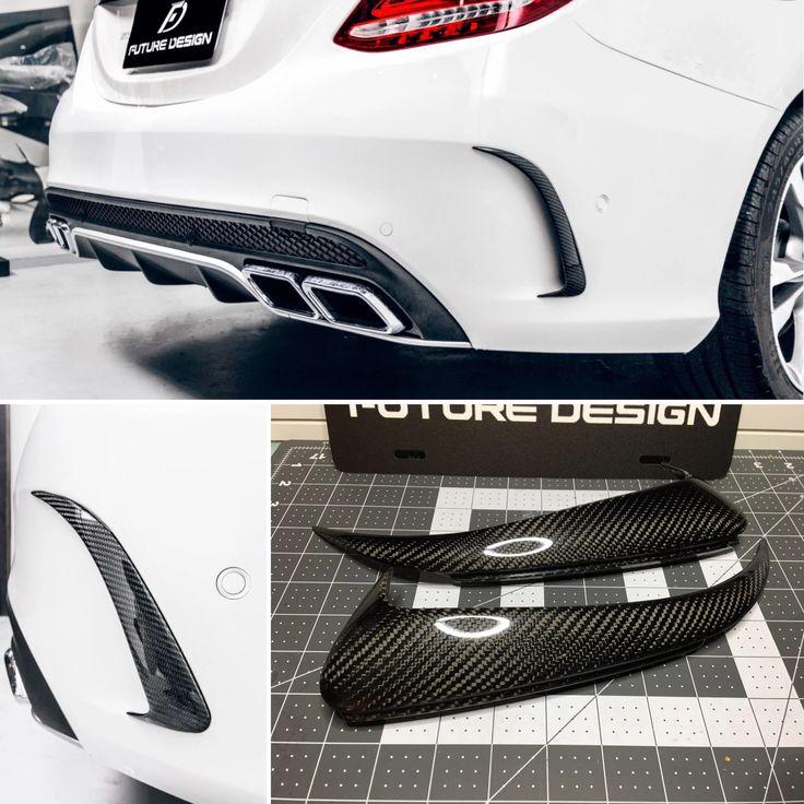 W205 Carbon Fiber Rear Bumper Side Vents Carbon Fiber
