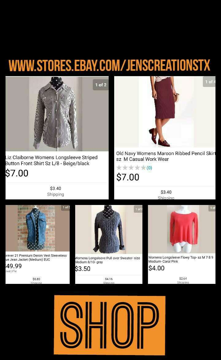 womens clothing at great prices. Forever 21, Faded Glory, Liz Claiborne, Charlotte Russe. FOLLOW: SalesForToday Also Visit: www.stores.ebay.com/jenscreationstx