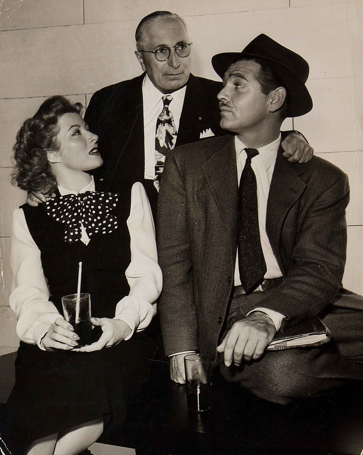"Greer Garson, Louis B. Mayer and Clark Gable on the set of ""Adventure"" 1945 Poor Clark hated the tag used in the ad ""Gables back and Garson's got him"""