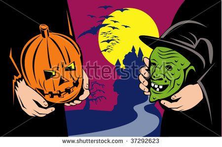 Halloween pumpkin and witch mask exchange  #halloween #retro #illustration