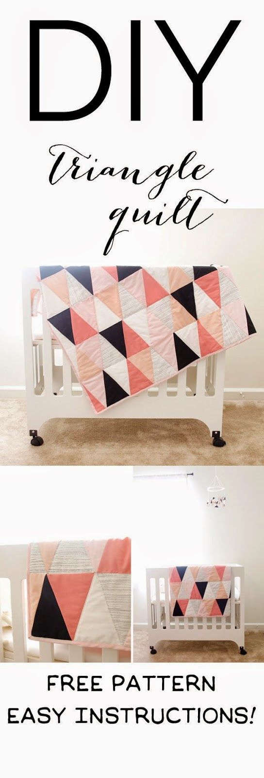 Modern ombre + b/w triangle quilt tutorial + pattern                                                                                                                                                                                 More