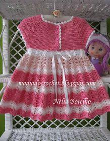 Magia do Crochet: Vestido, chapéu e sandália em crochet para uma menina: Para Hook, Crochet Dresses, For, Crochet Baby, Sandália Ems, Baby Crochet, Baby Dresses, A Girl, Ems Crochet