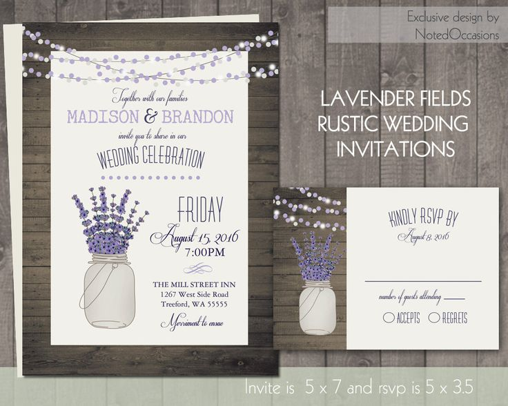 Mason Jar and Lavender Wedding Invitation Rustic by NotedOccasions