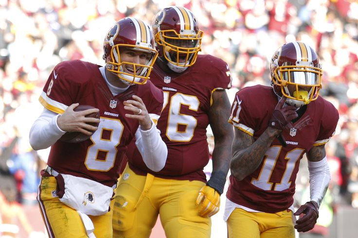 LANDOVER, MD - DECEMBER 20: Quarterback Kirk Cousins #8 of the Washington Redskins celebrates with teammates tackle Morgan Moses #76 and wide receiver DeSean Jackson #11 after scoring a second quarter touchdown against the Buffalo Bills at FedExField on December 20, 2015 in Landover, Maryland.  (5184×3456)